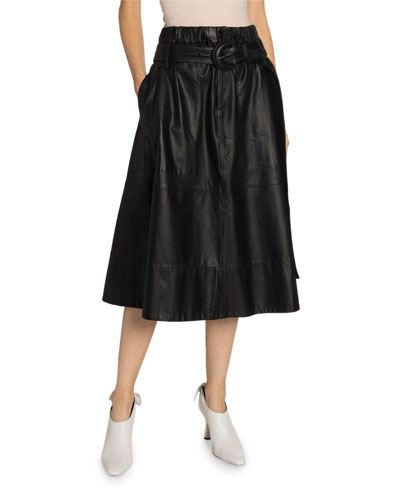 Belted Leather Midi Skirt