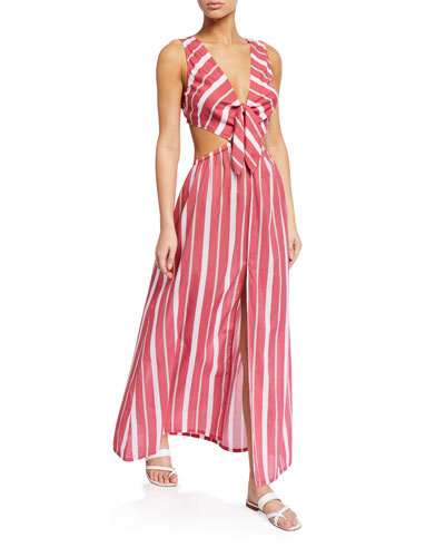 Chile Striped Tie-Back Maxi Dress