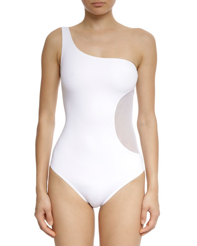 Side Patch One-Shoulder One-Piece Swimsuit
