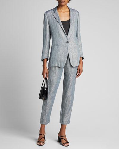 Metallic Linen Single-Button Jacket