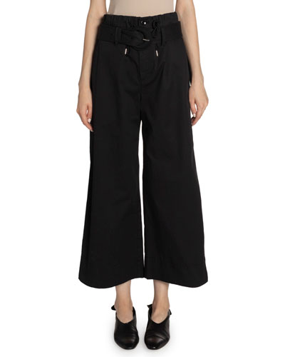Belted Drawstring Wide-Leg Ankle Pants