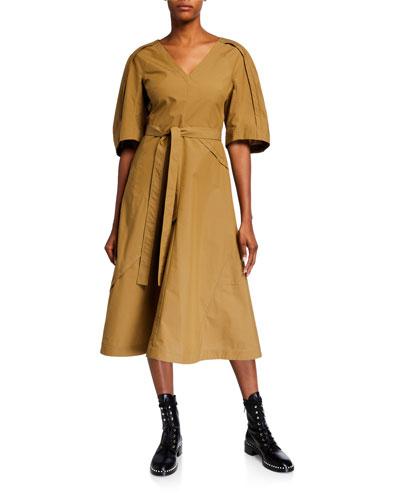 Balloon-Sleeve Midi Dress