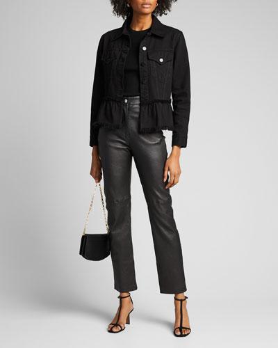 Button-Front Flounce-Hem Denim Jacket