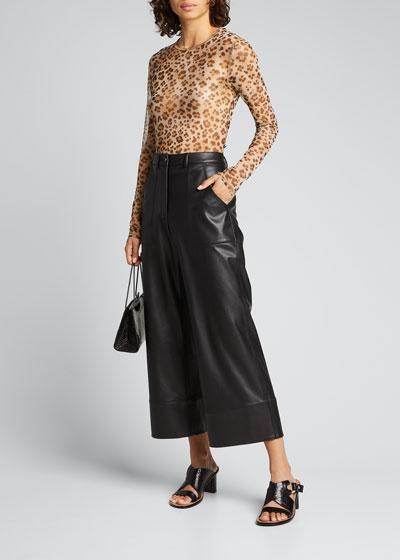 Mesh Long-Sleeve Leopard-Print Tee