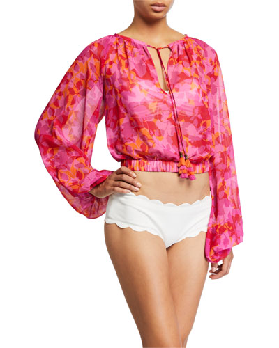 Tobyn Printed Long-Sleeve Coverup Top