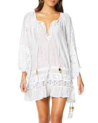 Nico Embroidered Coverup Tunic Dress