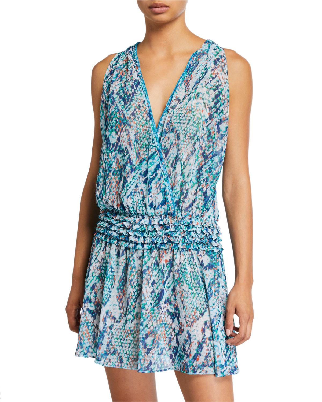 Ramy Brook Dresses MESINA PRINTED CHIFFON SMOCKED-WAIST DRESS