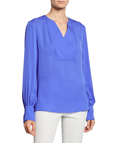 Reva V-Neck Blouson-Sleeve Silk Blouse