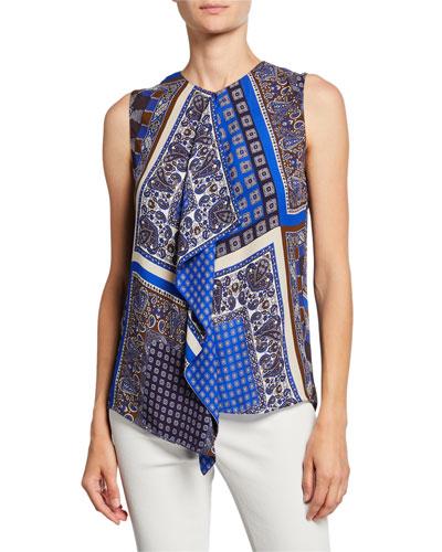 Pernilla Printed Sleeveless Drape-Front Blouse