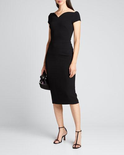 Barely Off-the-Shoulder Portrait-Neck Stretch Crepe Dress