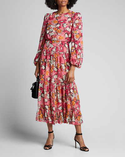 Kim B Boat-Neck Belted Floral Long Dress