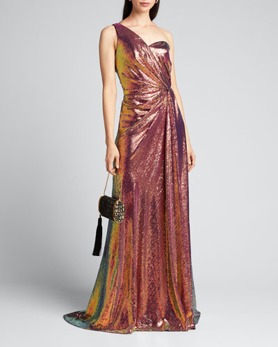Iridescent Micro Sequin Asymmetrical Gown
