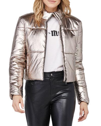 Bella Metallic Cropped Puffer Jacket