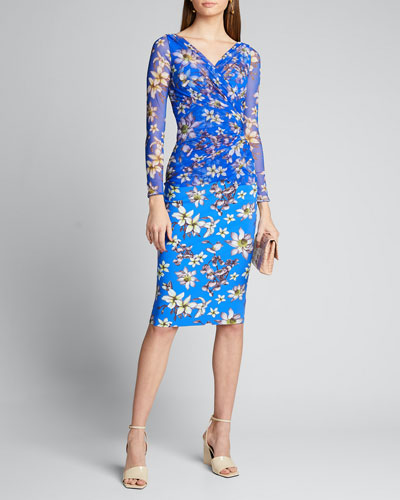 Floral V-Neck Long Sleeve Illusion Overlay Dress