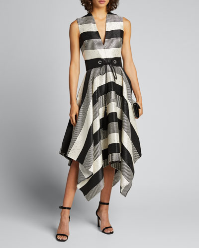 Sequin Striped Deep V-Neck Belted Handkerchief Dress