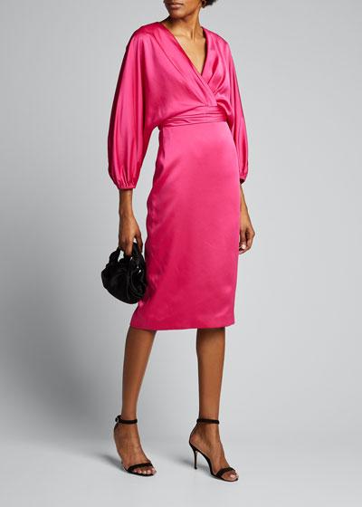 Surplice Dolman-Sleeve Heavy Charmeuse Cocktail Dress