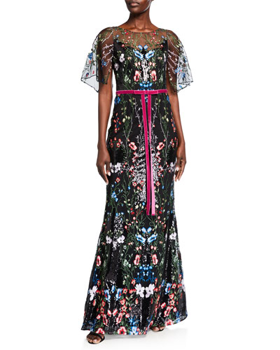 Cape-Sleeve Multicolor Sequin Embroidered Gown
