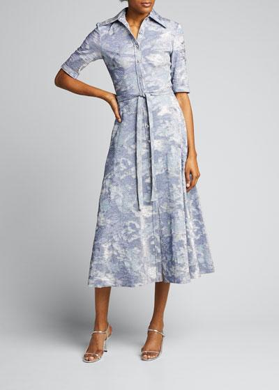Button-Front Metallic Stretch Cloque Full-Skirt Dress