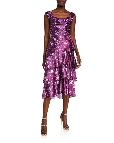 Floral Draped Charmeuse Tiered Ruffle-Trim Dress