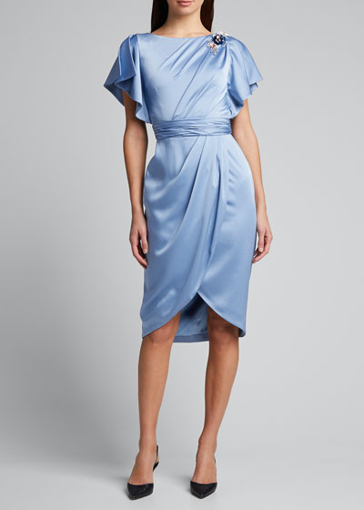 Asymmetrical Drape Charmeuse Dress with Wrap Skirt
