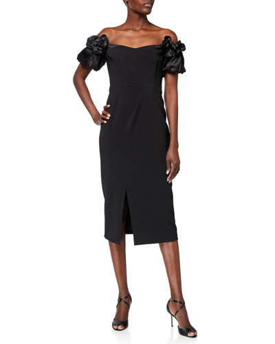 Off-the-Shoulder Satin Puff-Sleeve Stretch Crepe Dress