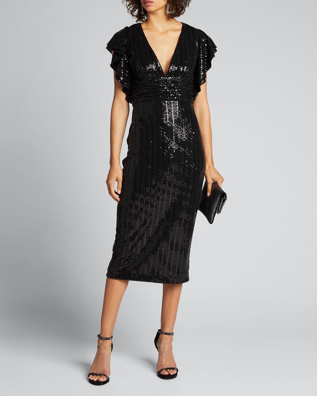 Badgley Mischka SEQUIN V-NECK FLUTTER-SLEEVE COCKTAIL DRESS