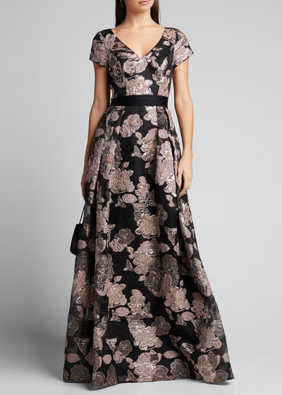Cap-Sleeve Hand Beaded Metallic Fil Coupe Ball Gown