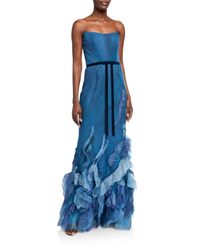 Strapless Printed Tulle Textured Gown