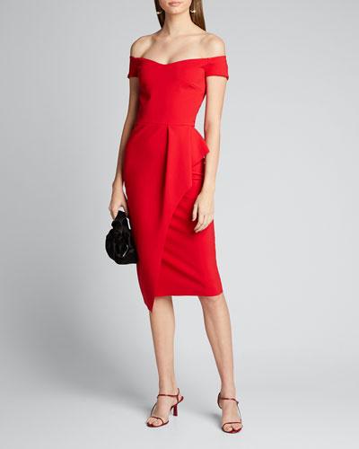 Off-Shoulder Cap-Sleeve Apron Skirt Dress