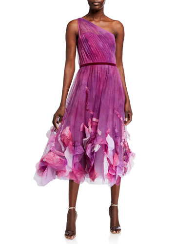 One-Shoulder Ombre Printed Textured Tulle Midi Dress
