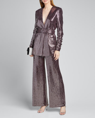 Sequin Crush-Sleeve Belted Jacket