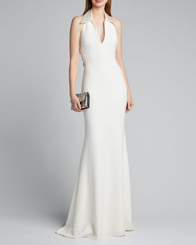 Shirt Halter Gown with Embellished Back Panel