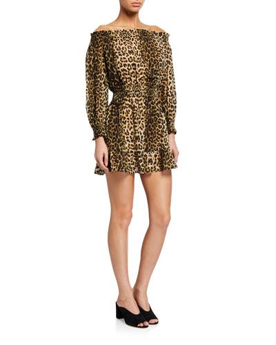 Arcos Off-Shoulder Smocked Leopard-Print Dress