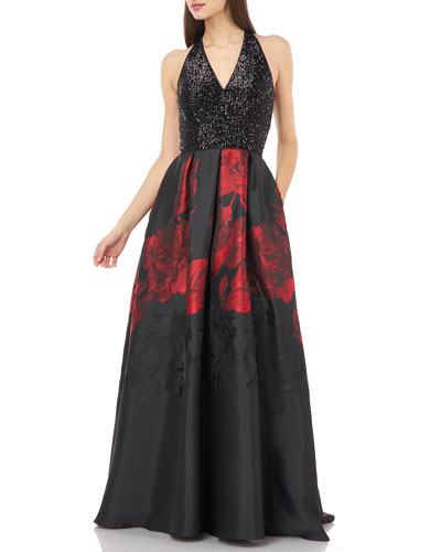 Sequin Bodice Halter V-Neck Gown w/ Printed Mikado Skirt