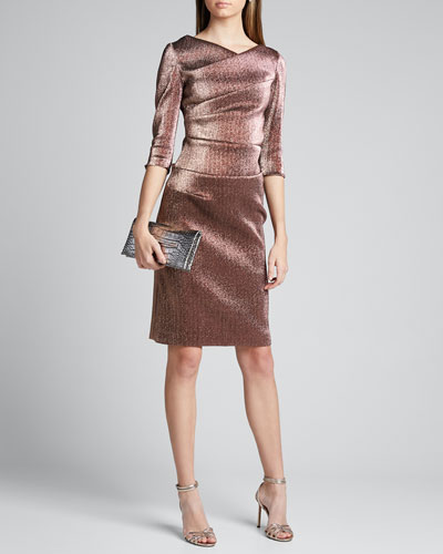 Metallic Elbow-Sleeve Asymmetric Tucked Sheath Dress