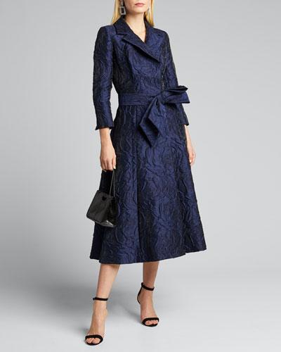 3/4-Sleeve Jacquard Coat Dress w/ 3D Detail