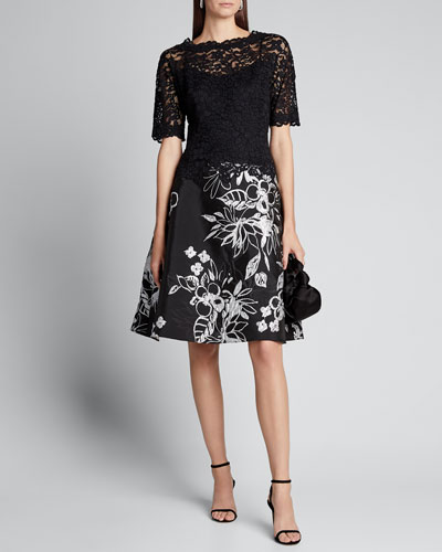 Elbow-Sleeve Lace Bodice Dress w/ Embroidered Skirt