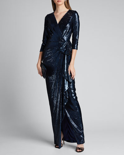 Sequin Elbow-Sleeve Wrap-Front Column Gown