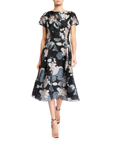 Cap-Sleeve Organza Metallic Floral Jacquard Dress