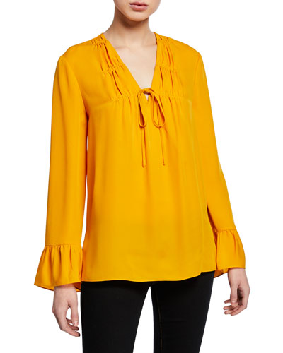 Mia V-Neck Long-Sleeve Silk Blouse