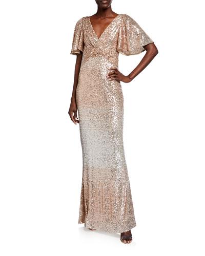 Sequin Wrap-Bodice Flutter-Sleeve Column Gown