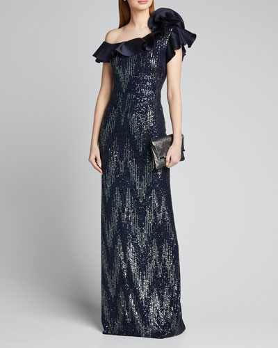 Zig Zag Sequin One-Shoulder Ruffle-Trim Column Gown