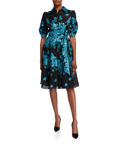 Metallic Floral Embroidered Belted Organza Shirtdress