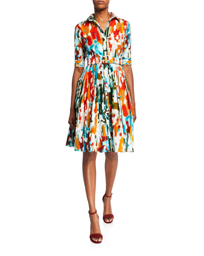 Audrey Newman Multi 1/2-Sleeve Belted Stretch Cotton Dress
