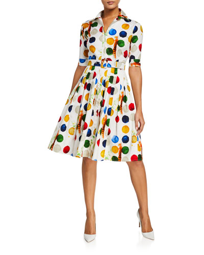 Audrey Impressionist Dots 1/2-Sleeve Stretch Cotton Shirtdress