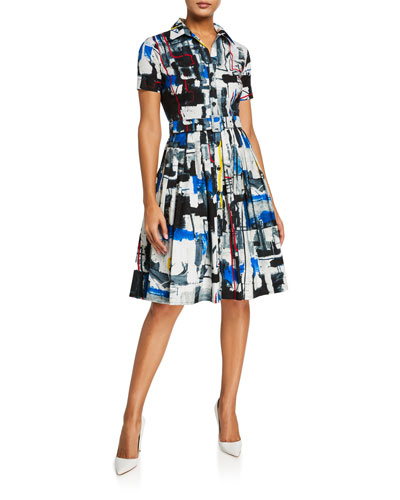 Audrey Short-Sleeve Newman Abstract Stretch Cotton Shirtdress