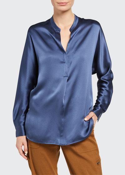 Band-Collar Long-Sleeve Silk Blouse