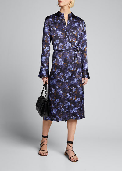 Plumeria Blooms V-Neck Hammered Satin Dress