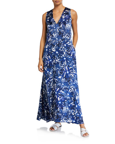 V-Neck Floral-Print Long Coverup Dress