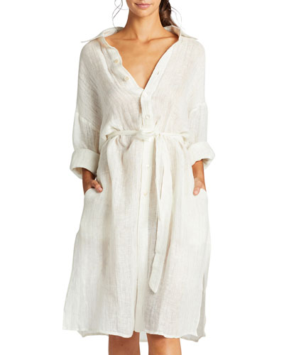 Riviera Belted Coverup Shirt Dress
